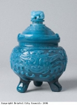 Blue, vessel and lid