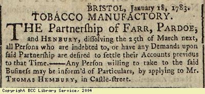 Advert about dissolved business partnership