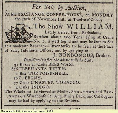 Advert for sale of cargo of ship