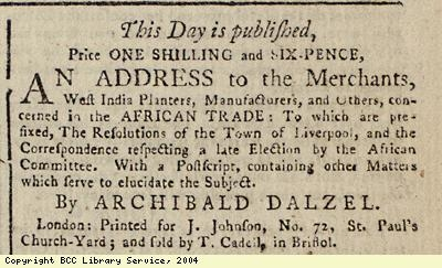 Advert; addess to those concerned in slave trade
