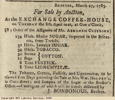 Advert for auction of Caribbean goods