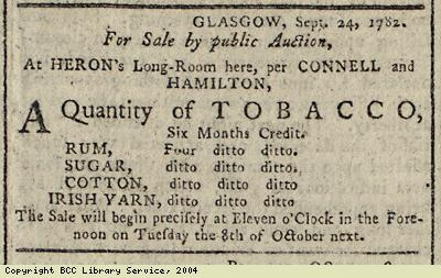 Advert for auction of goods