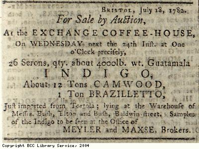 Advert for auction of indigo