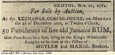Advert for auction of rum