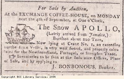 Advert for auction of slave ship