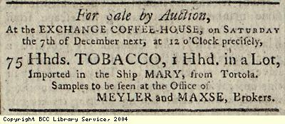 Advert for auction of tobacco