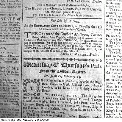 Advertisement, sale of cargo of Constant Matthew