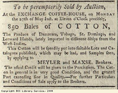 Advert for cotton auction