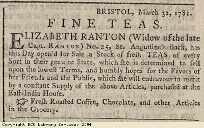 Advert for fine teas