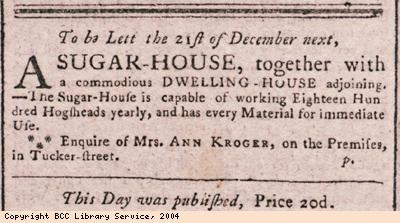 Advert for letting of sugar house