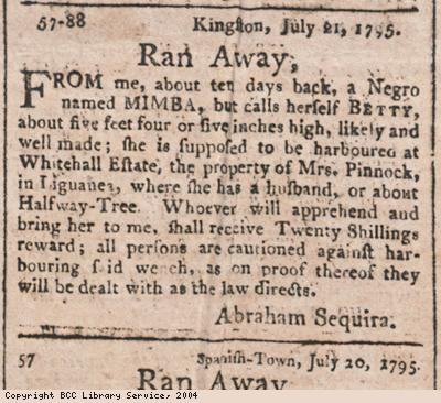 Advert for runaway female slave