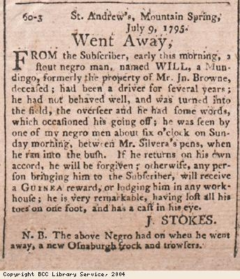 Advert for runaway slave