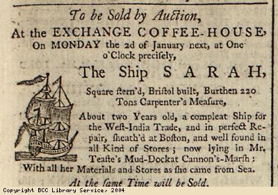 Advert for sale by auction of ship