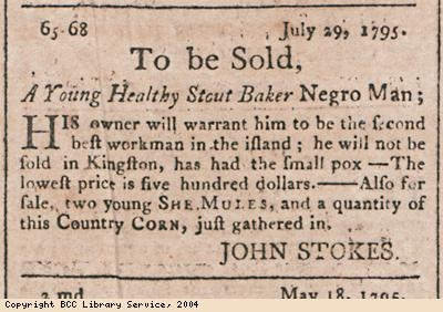 Advert for sale of healthy young slave man