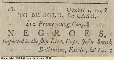 Advert for sale of 410 slaves