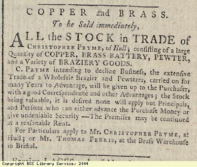 Advert for sale of copper, brass etc