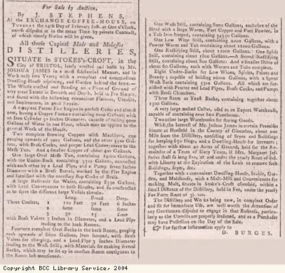 Advert for sale of distilleries