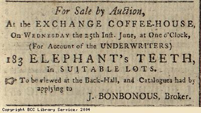 Advert for sale of elephant's teeth