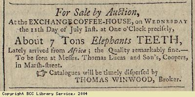 Advert for sale of elephant teeth