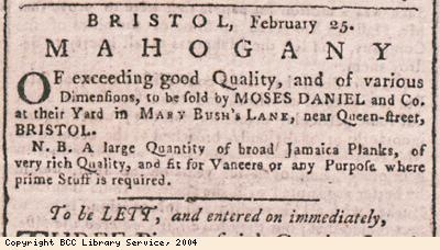 Advert for sale of mahogany