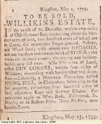 Advert for sale of plantations