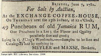 Advert for sale of rum