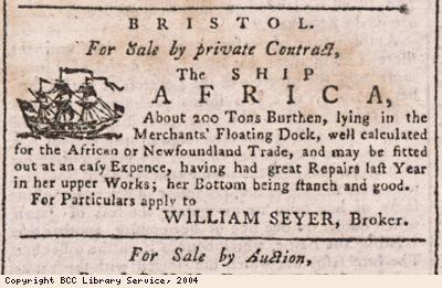 Advert for sale of ship