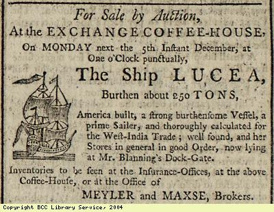Advert for sale of ship by auction
