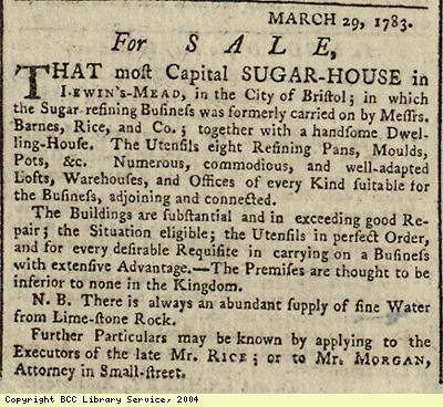 Advert for sale of sugar-house