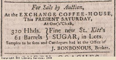 Advert for sale of sugar