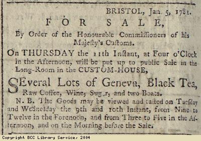 Advert for sale of tea and coffee