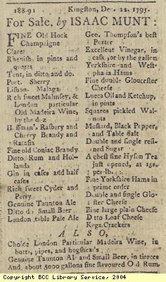 Advert for sales of food and drink