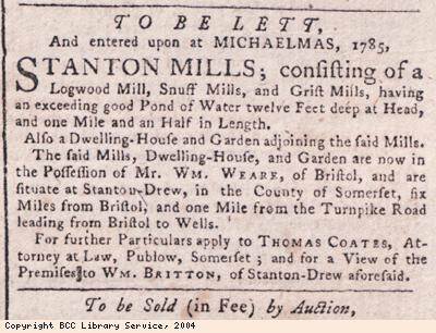 Advert for snuff mills to let