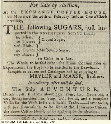 Advert for sugar auction