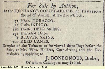 Advert for the sale of imported goods
