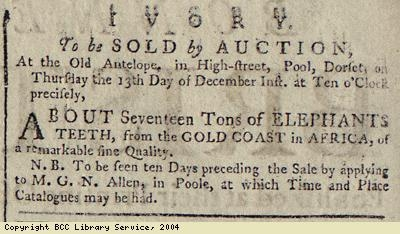 Advert for the sale of ivory