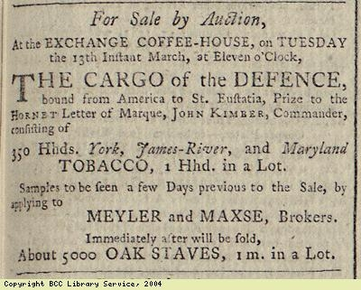 Advert for the sale of tobacco