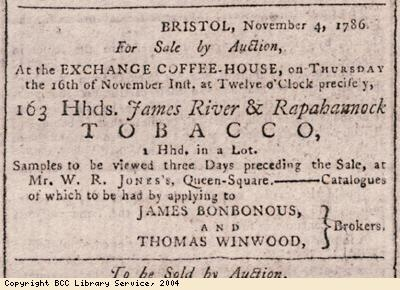 Advert for tobacco sale