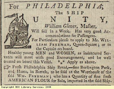 Advert; passage of ship