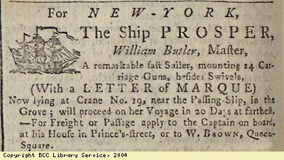 Advert; ship taking passengers and freight