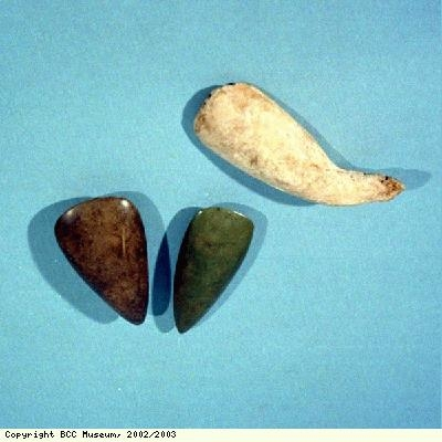 Adzehead and axeheads from Arawak and Carib people