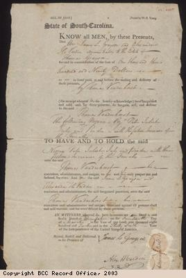 Bill for sale of slaves