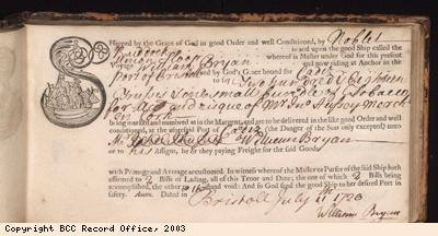 Bill of lading for tobacco