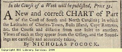Advert; chart of North and South Carolina