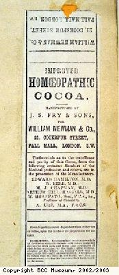Wrapper, Improved Homoeopathic Chocolate