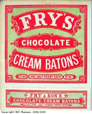 Wrapper for Frys Chocolate Cream Batons