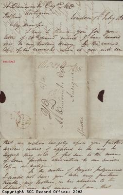 Correspondence from Alfred Latham to A Duncombe
