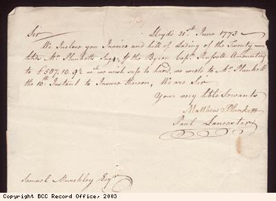 Letter, Plunkett and Lancaster to S Munckley