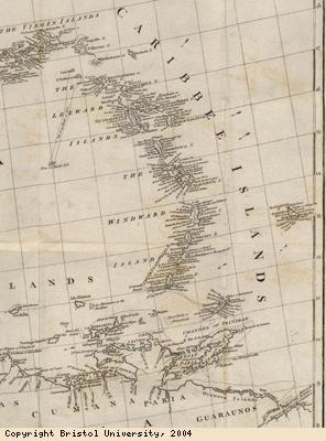 Map of the Leeward and Windward islands