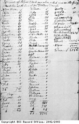 Estimate of slaves and stock on Spring Plantation